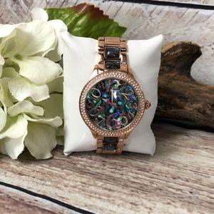 Betsey Johnson Rose Gold Abalone Fashion Watch